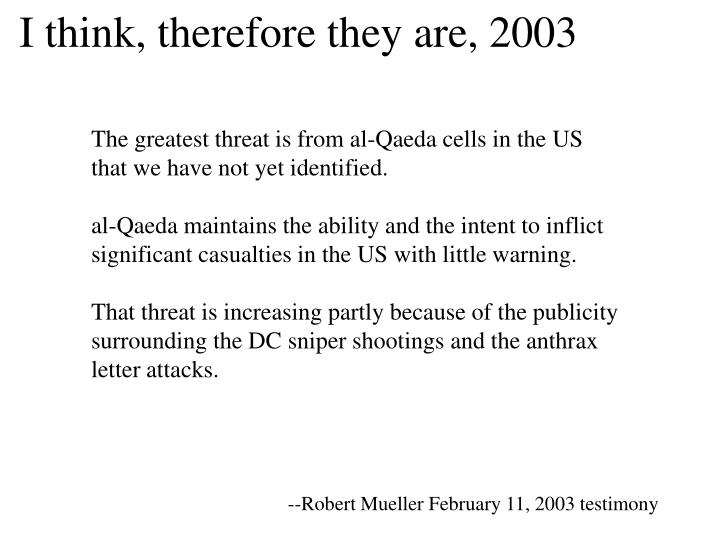 I think, therefore they are, 2003