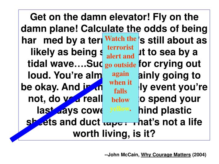Get on the damn elevator! Fly on the damn plane! Calculate the odds of being harmed by a terrorist! It's still about as likely as being swept out to sea by a tidal wave….Suck it up, for crying out loud. You're almost certainly going to be okay. And in the unlikely event you're not, do you really want to spend your last days cowering behind plastic sheets and duct tape? That's not a life worth living, is it?