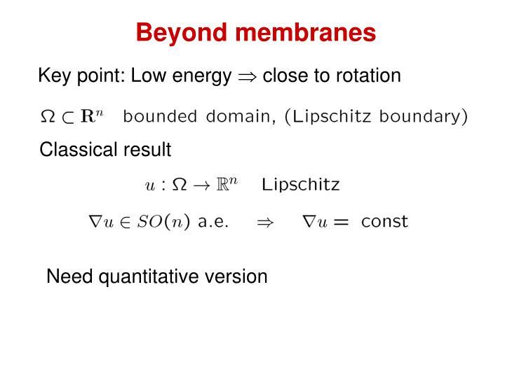 Beyond membranes