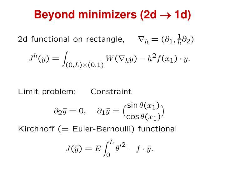 Beyond minimizers (2d  1d)