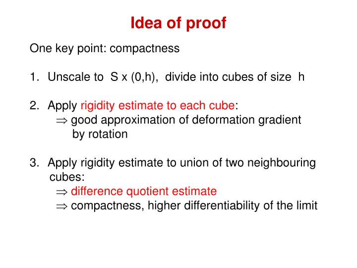 Idea of proof