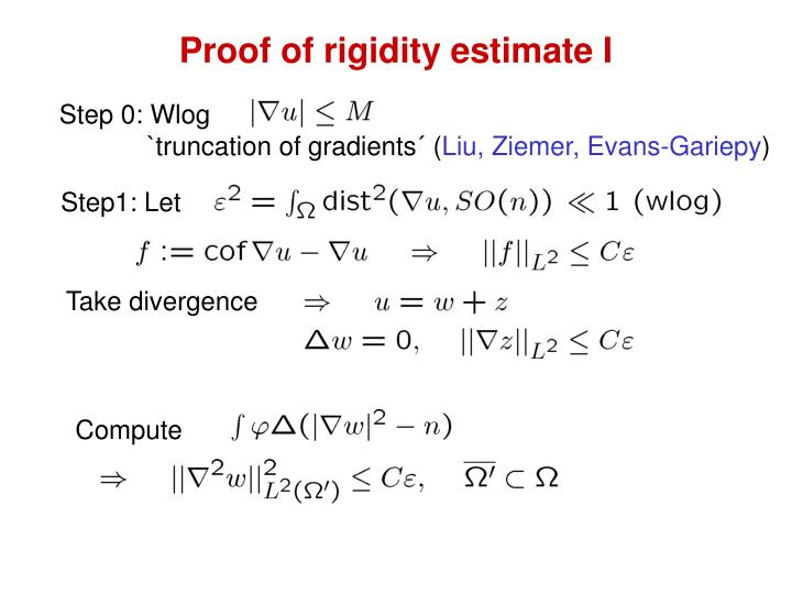 Proof of rigidity estimate I