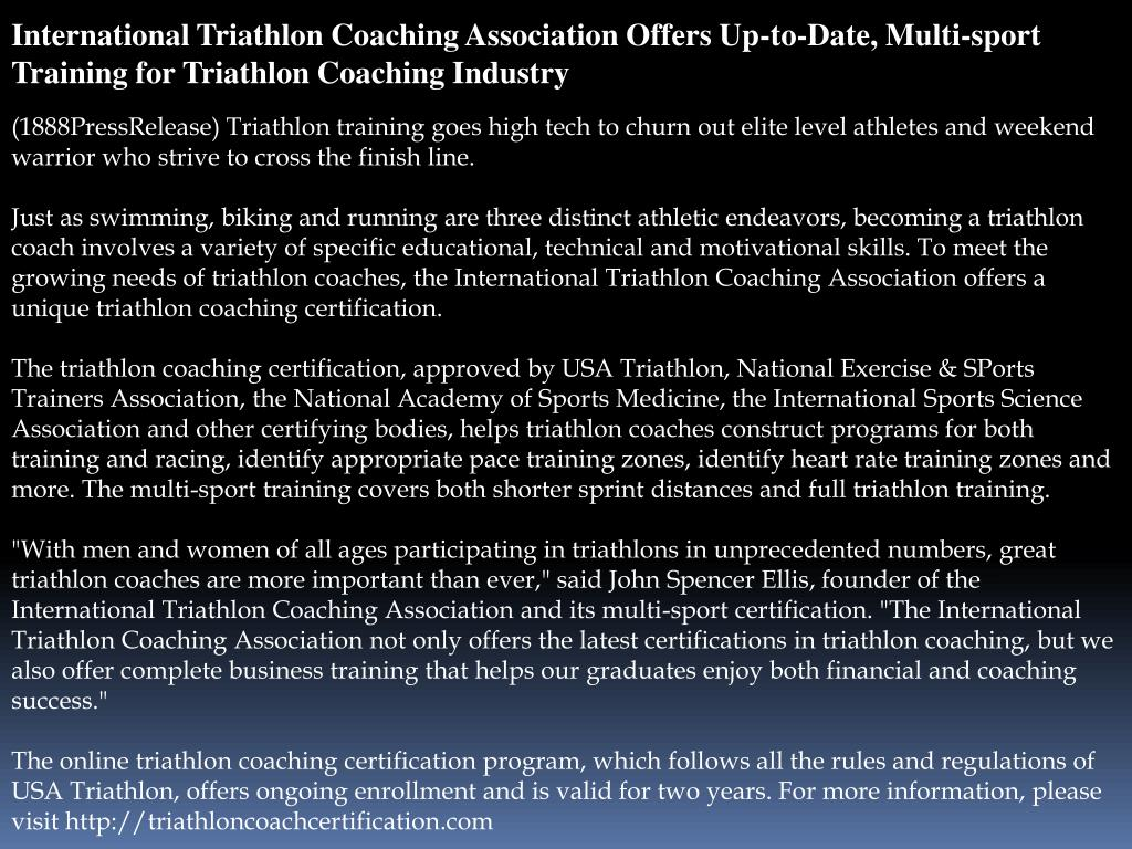 International Triathlon Coaching Association Offers Up-to-Date, Multi-sport Training for Triathlon Coaching Industry