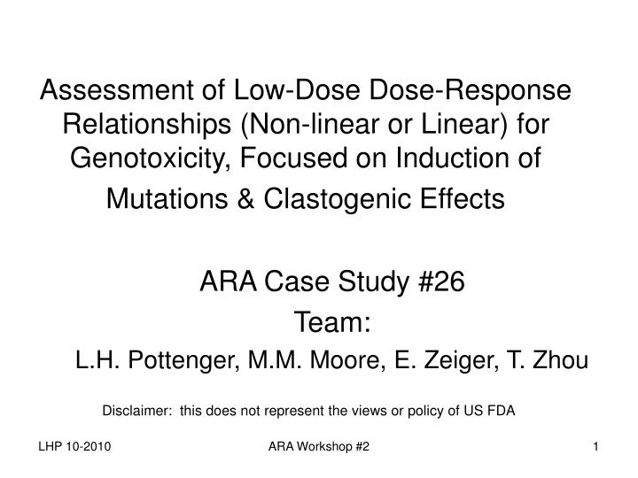 Assessment of Low-Dose Dose-Response Relationships (Non-linear or Linear) for Genotoxicity, Focused on Induction of Mutations & Clastogenic Effects