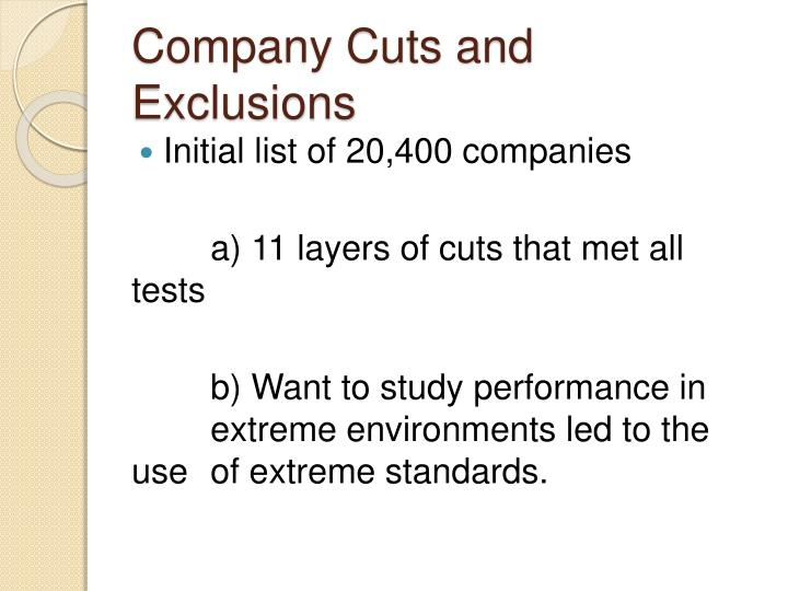 Company Cuts and Exclusions