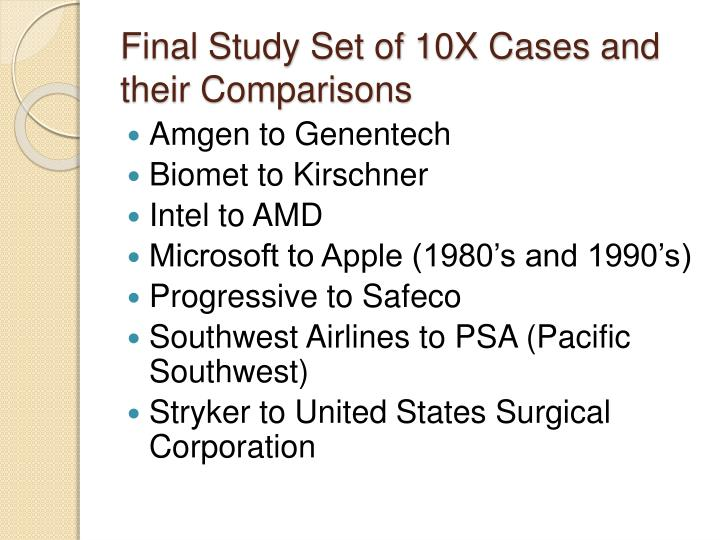 Final Study Set of 10X Cases and their Comparisons