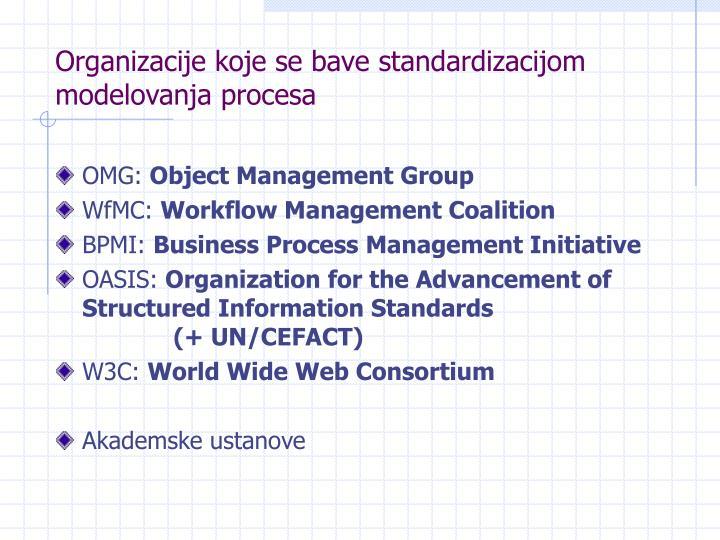 Organizacije koje se bave standardizacijom modelovanja procesa