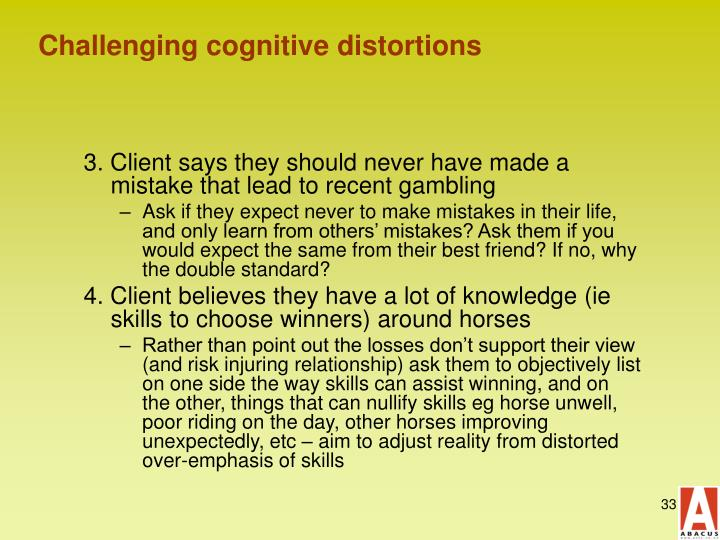 Challenging cognitive distortions
