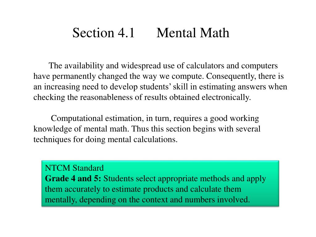 Section 4.1      Mental Math
