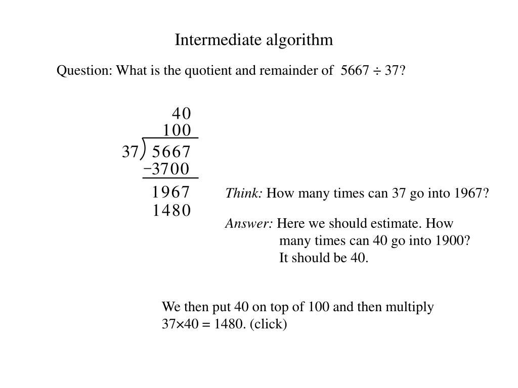Intermediate algorithm