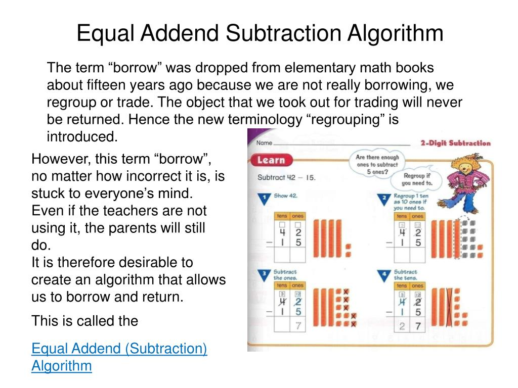 Equal Addend Subtraction Algorithm