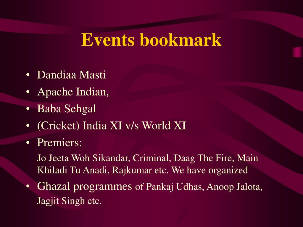 Events bookmark