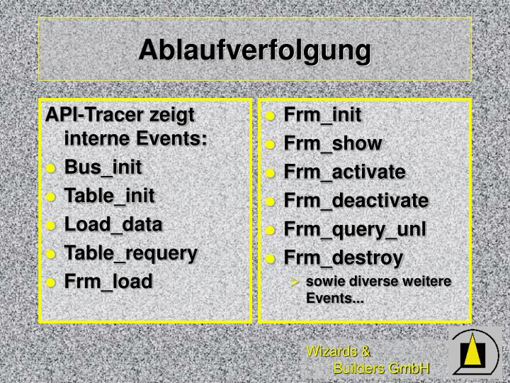 API-Tracer zeigt interne Events:
