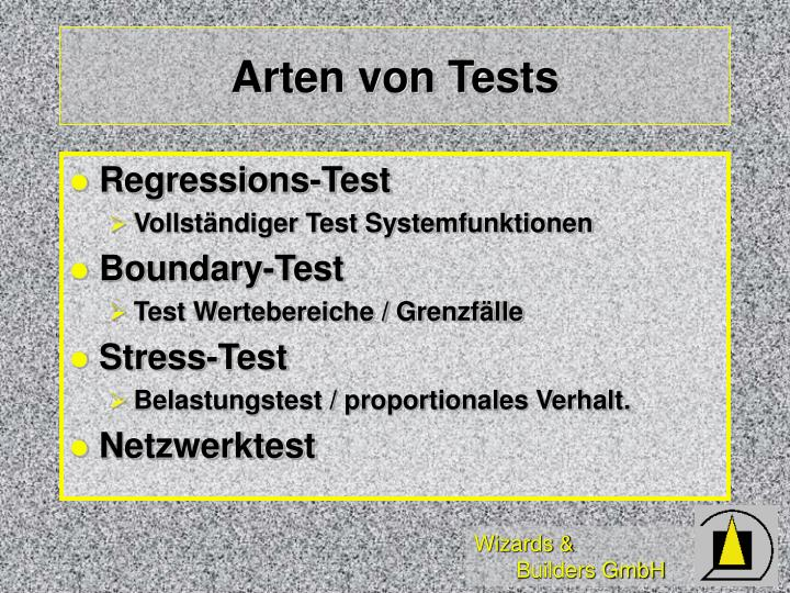 Arten von Tests