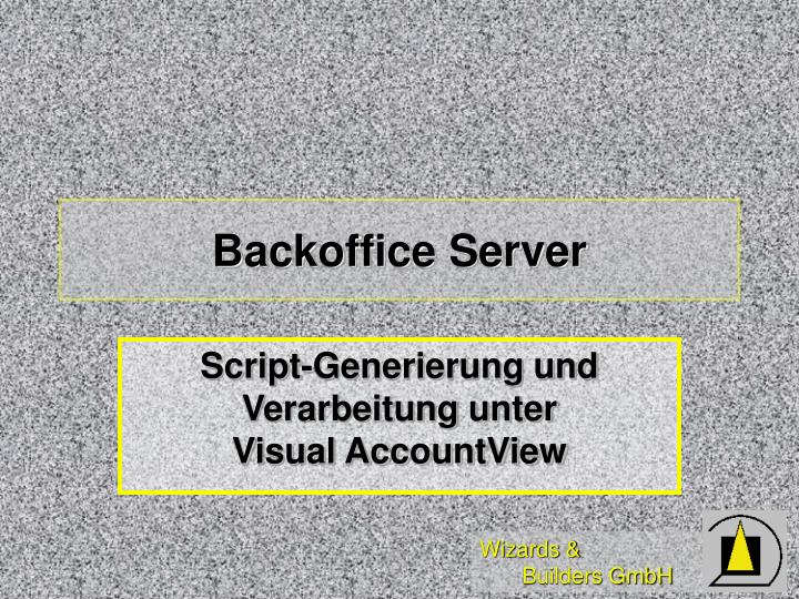 Backoffice Server
