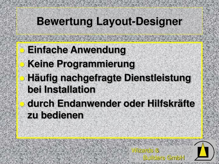 Bewertung Layout-Designer