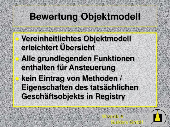 Bewertung Objektmodell