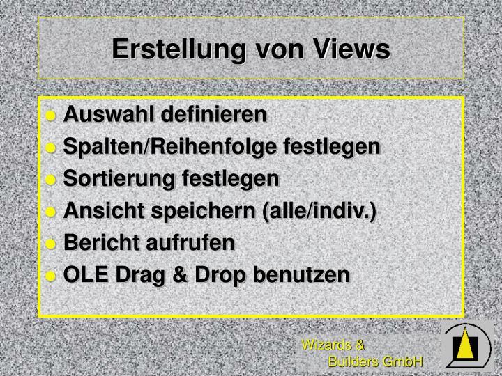 Erstellung von Views