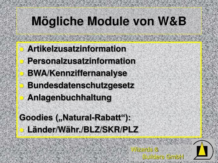 Mögliche Module von W&B