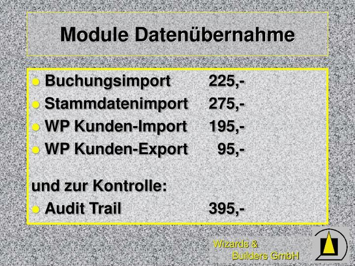 Module Datenübernahme