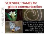 scientific names for global communication