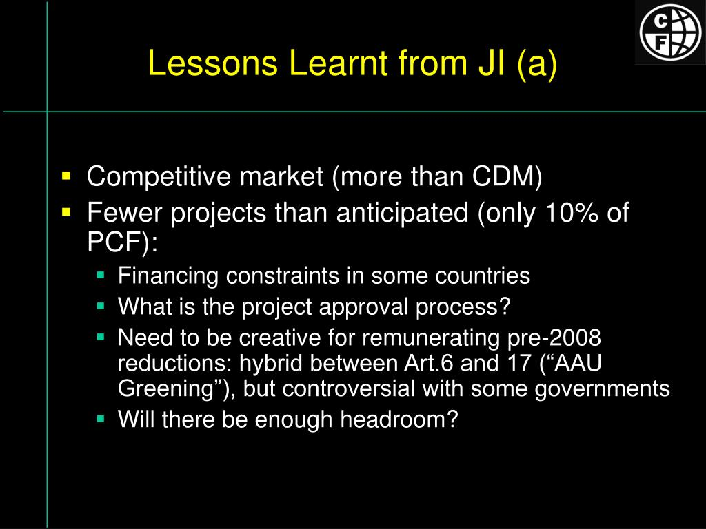 Lessons Learnt from JI (a)