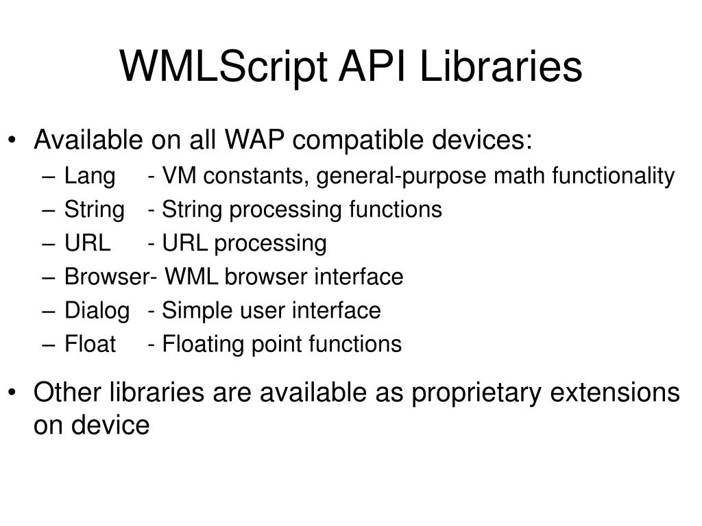 WMLScript API Libraries