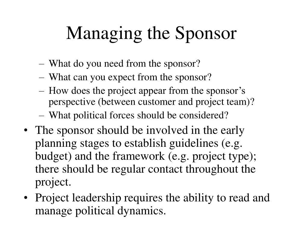 Managing the Sponsor