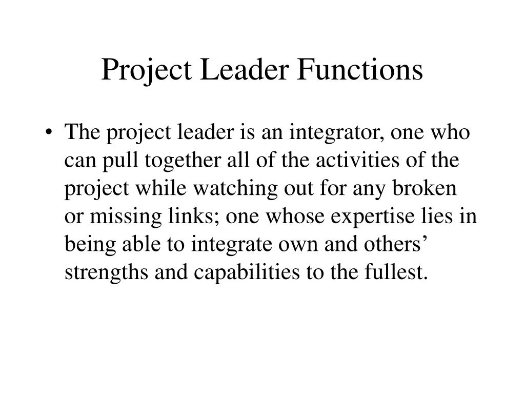 Project Leader Functions