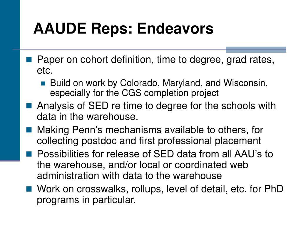 AAUDE Reps: Endeavors