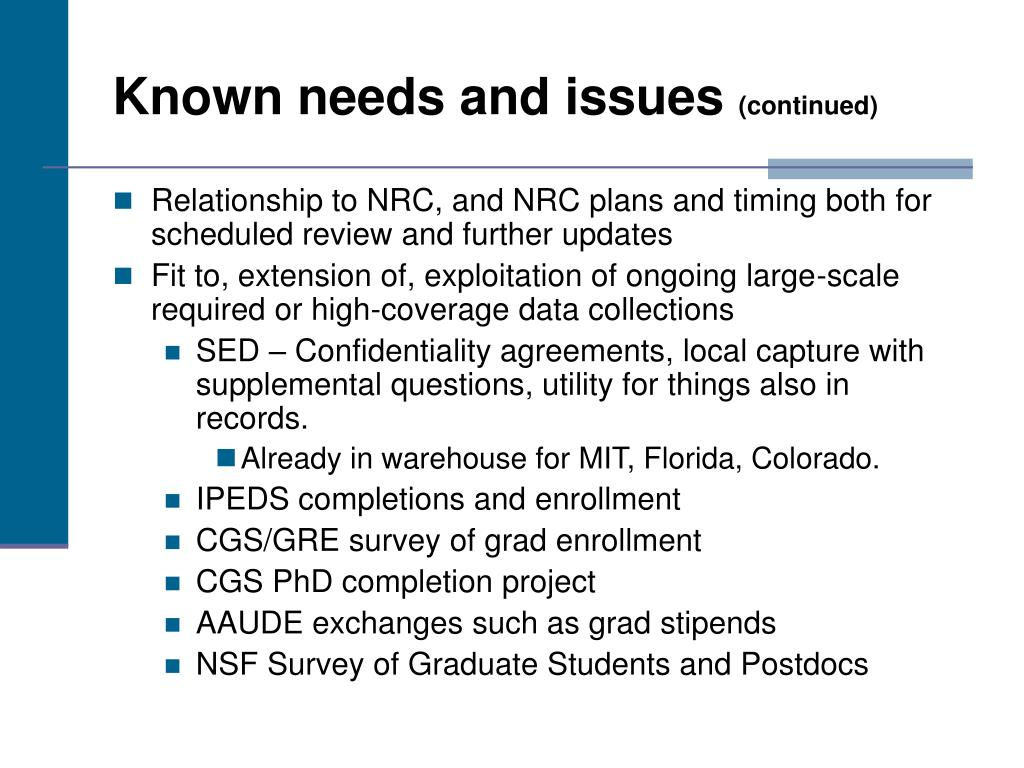 Known needs and issues