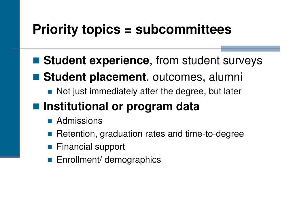 Priority topics = subcommittees