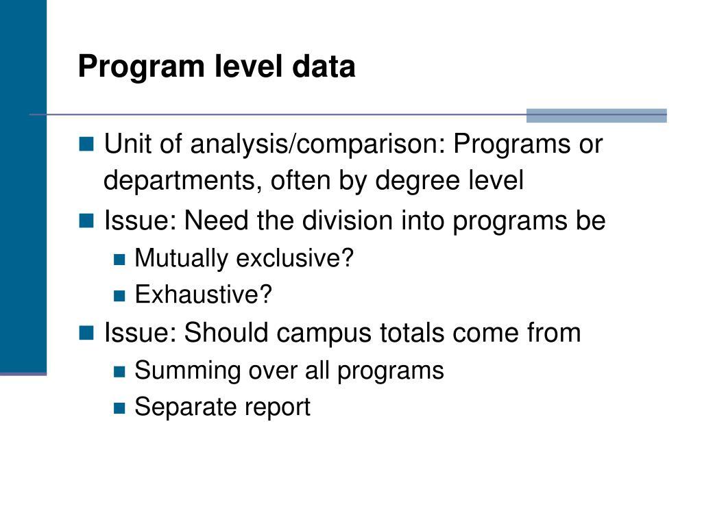 Program level data