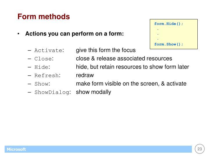 Form methods