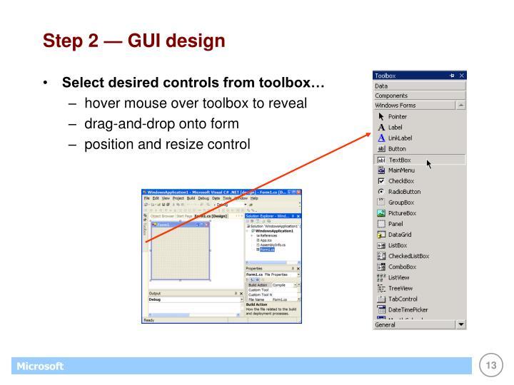 Step 2 — GUI design