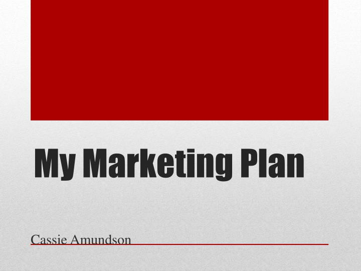 My marketing plan