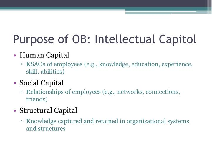 Purpose of OB: Intellectual Capitol