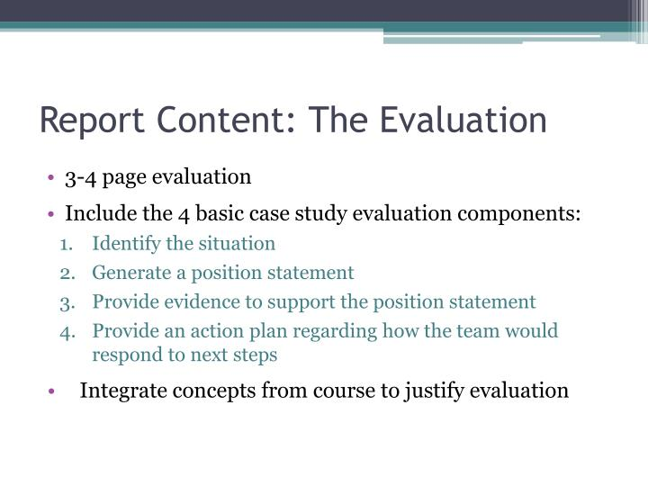 Report Content: The Evaluation