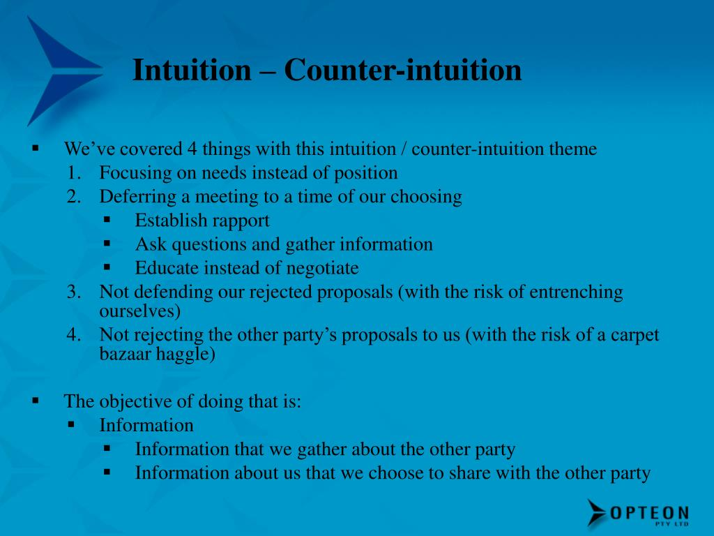 Intuition – Counter-intuition