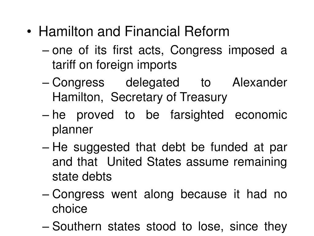 Hamilton and Financial Reform