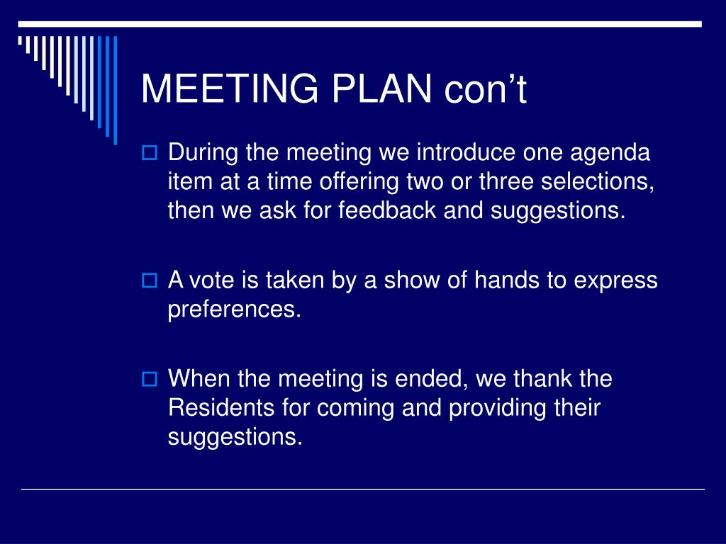 MEETING PLAN con't