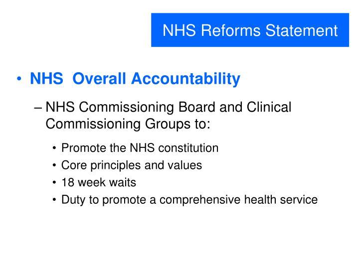 NHS Reforms Statement