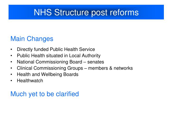 NHS Structure post reforms