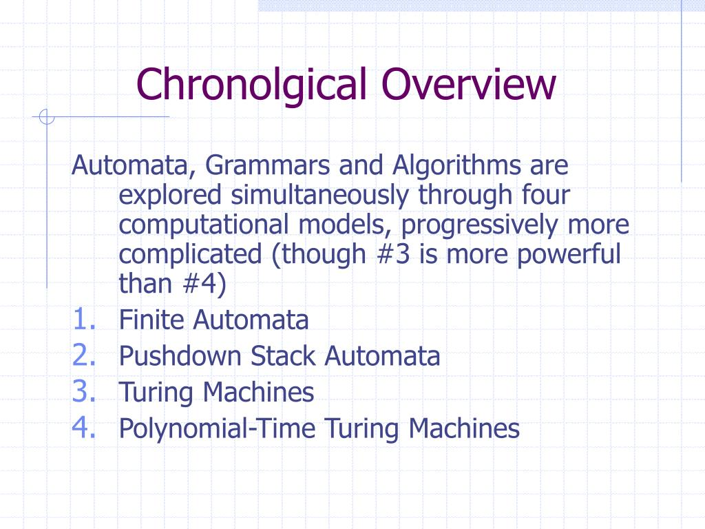 Chronolgical Overview