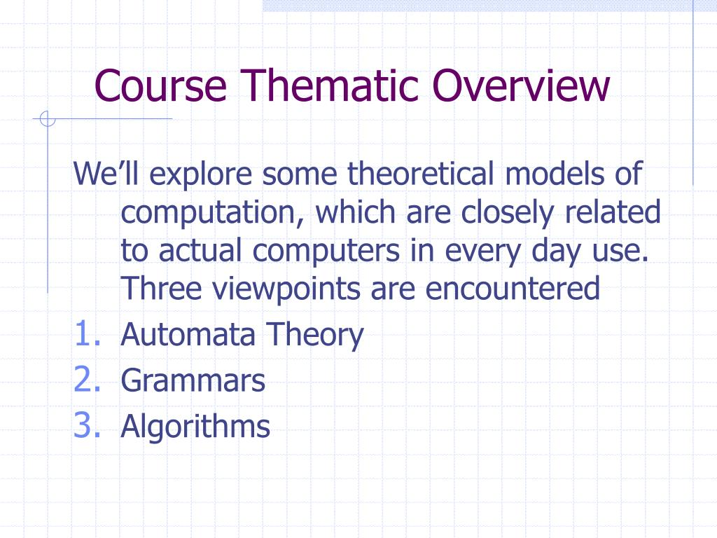Course Thematic Overview