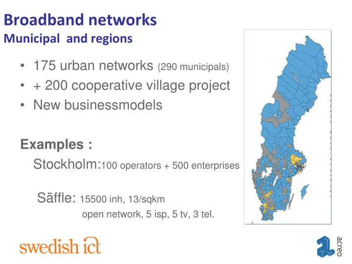 Broadband networks municipal and regions