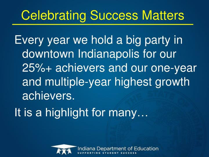 Celebrating Success Matters
