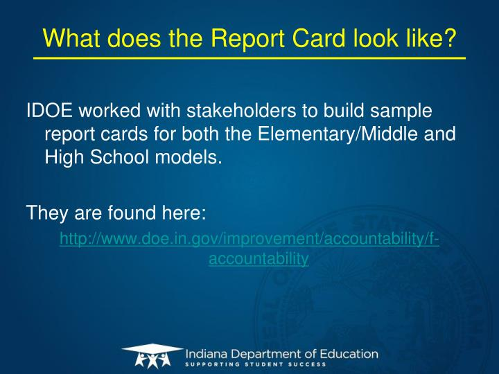 What does the Report Card look like?