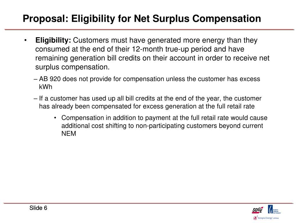 Proposal: Eligibility for Net Surplus Compensation