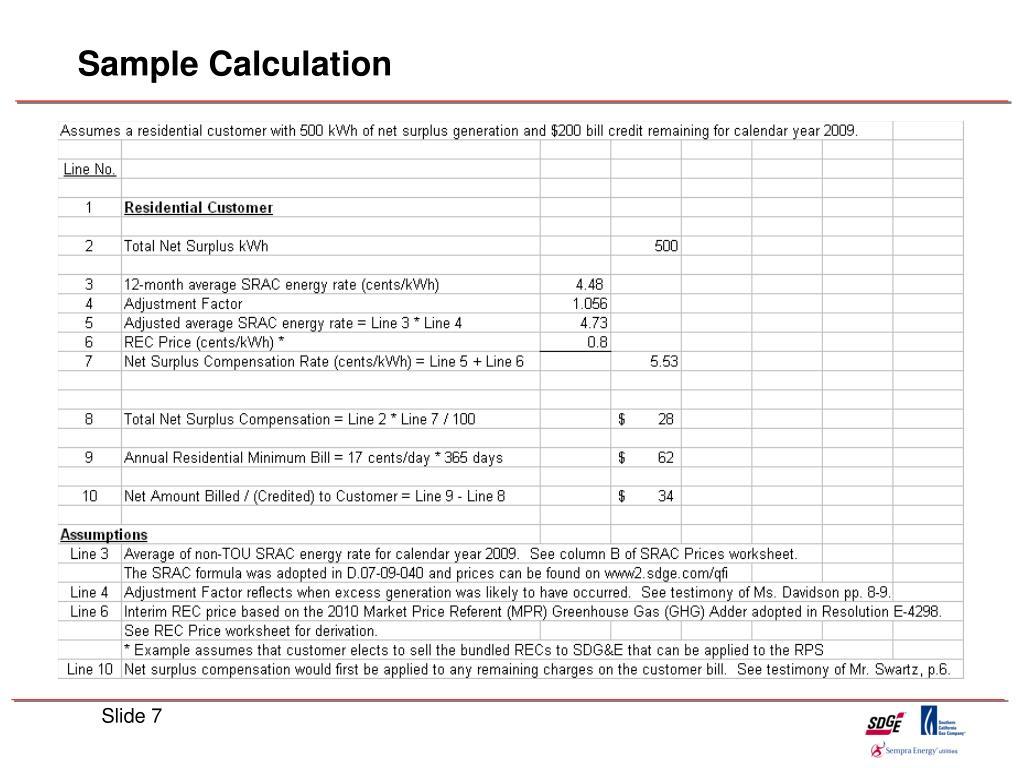 Sample Calculation